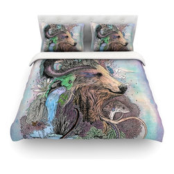"""Kess InHouse - Mat Miller """"Forest Warden"""" Bear Nature Cotton Duvet Cover (Twin, 68"""" x 88"""") - Rest in comfort among this artistically inclined cotton blend duvet cover. This duvet cover is as light as a feather! You will be sure to be the envy of all of your guests with this aesthetically pleasing duvet. We highly recommend washing this as many times as you like as this material will not fade or lose comfort. Cotton blended, this duvet cover is not only beautiful and artistic but can be used year round with a duvet insert! Add our cotton shams to make your bed complete and looking stylish and artistic! Pillowcases not included."""
