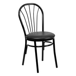 Flash Furniture - Flash Furniture Hercules Series Fan Back Metal Chair - Black Vinyl Seat - This traditional Fan Back chair is often used in the Hospitality industry for its casual design. These heavy duty chairs are lightweight to make moving around easy to do. The easy to clean vinyl padded seat is easy to clean when in a high paced environment. Not only are these chairs great for commercial use, but will make a great dining room chair. [XU-698B-BLKV-GG]