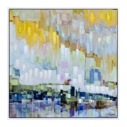 Ren-Wil - Ren-Wil Blue Belt Wall Art - A post-impressionism style in a complimentary color scheme makes for a sophisticated abstract work of art. Printed hand-embellished covered in high gloss and finished with a thin white floating frame.