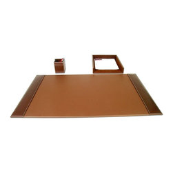 Dacasso - Dacasso Denver Rustic Brown 3-Piece Desk Set - D3237 - Shop for Desk and Drawer Organizers from Hayneedle.com! The Dacasso Denver Rustic Brown 3-Piece Desk Set makes a big difference with a small organizing collection. A quality leather desk pad protects your wood finish. Slip important documents and essential correspondence into the full-sized letter tray. Pencils and pens stay within reach inside the cup holder. Arrange as needed to fit your specific desk space.