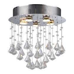 Warehouse of Tiffany - Cerda 5-light Crystal Chandelier - Maximize the luxury of your home with this beautiful round crystal chandelier. Featuring simple and glittering crystals, this chandelier has five lights for ample lighting. Setting: IndoorsFixture finish: ChromeMaterials: CrystalNumber of lights: Five (5)Requires: Five (5) 60 watt bulbs (not included)Shade dimensions: 17 inches high x 17 inches wide x 6 inches longThis fixture does need to be hard wired. Professional installation is recommended.CSA Listed, ETL Listed, UL Listed
