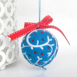 Wool Felted Ball Ornament in Blue, Red and White by Woolicious - Small children love decorations, so for many years we didn't have any ornaments on the lower half of our Christmas tree. If you like a fully decorated tree, look for soft and durable decorations that kids can touch and not break. I adore this wool, felted ornament. I wouldn't want my kids to play with this gorgeous decoration, but it definitely wouldn't break if they did.