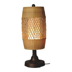 "PLC - Tonga 30"" Bronze Tube Table Lamp with Antique Honey Wicker Shade - Antique honey diamond center pattern wicker barrel shade enclosing an opal cylinder of light highlights this carefree durable contemporary outdoor lamp. Features weatherproof all resin construction with heavy weighted base, two level dimming switch and 12 ft. weatherproof cord and plug. Durable acrylic waterproof light bulb enclosure allows the use of a standard 100 watt light bulb. Dimensions: 12.5"" L X 12.5"" W X 30"" H"