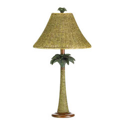 "n/a - Palm Tree Rattan Lamp - Real rattan rope adds natural appeal to a vintage-look palm tree base and nubby open-weave shade. Polyresin with rattan rope shade.  UL recognized with 40 watt bulb not included.  13.50"" in diameter x 25.50"" high."