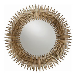 Arteriors - Prescott Round Mirror - Individual iron rods are welded together and finished in antique gold leaf to create this fresh interpretation of the always popular starburst. The round shape looks great alone or in multiples.