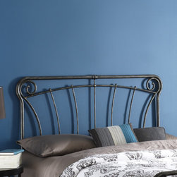 """FBG - Langford Headboard - Graceful lines and rustic details make this headboard a worthy addition to your decor. Reminiscent of French antique iron gates, the Langford headboard is the epitome of elegance, style, and class. The Langford headboard features four spiral C scrolls, delicate castings, and artistically curved spindles to bring a taste of the French countryside into your home. Features: -Stylish blackened silver finish.-Langford collection.-Gloss Finish: Yes.-Powder Coated Finish: No.-Hardware Material: Metal.-Non Toxic: Yes.-Scratch Resistant: No.-Adjustable Height: No.-Lighting Included: No.-Wall Mounted: No.-Reversible: No.-Hardware Finish: Blackened Silver.-Finished Back: Yes.-Distressed: No.-Hidden Storage: No.-Freestanding: No.-Frame Required: Yes.-Frame Included: No.-Drill Holes for Frame: Yes.-Swatch Available: No.-Eco-Friendly: No.-Product Care: Wipe with a clean, damp cloth.-Recycled Content: No.Specifications: -EPP Compliant: No.-CPSIA or CPSC Compliant: Yes.-ASTM Certified: No.-ISTA 3A Certified: Yes.-General Conformity Certificate: Yes.-Green Guard Certified: No.Dimensions: -Overall Height - Top to Bottom (Size: Full): 52"""".-Overall Height - Top to Bottom (Size: Queen): 52"""".-Overall Height - Top to Bottom (Size: King): 52"""".-Overall Depth - Front to Back (Size: Full): 1.25"""".-Overall Depth - Front to Back (Size: Queen): 1.25"""".-Overall Depth - Front to Back (Size: King): 1.25"""".-Overall Product Weight (Size: Full, Queen): 20 lbs.-Overall Product Weight (Size: King): 23 lbs.-Top of Headboard to Bed Frame: 28"""".-Bottom of Headboard to Floor: 24"""".Assembly: -Assembly Required: No.-Additional Parts Required: No.Warranty: -10 Years against manufacturer's defects."""