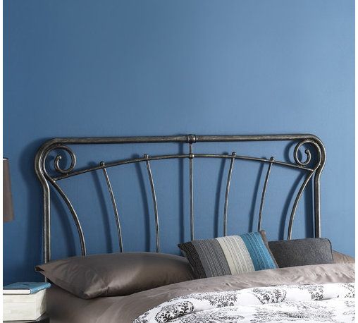 "FBG - Langford Headboard - Graceful lines and rustic details make this headboard a worthy addition to your decor. Reminiscent of French antique iron gates, the Langford headboard is the epitome of elegance, style, and class. The Langford headboard features four spiral C scrolls, delicate castings, and artistically curved spindles to bring a taste of the French countryside into your home. Features: -Stylish blackened silver finish.-Langford collection.-Gloss Finish: Yes.-Powder Coated Finish: No.-Hardware Material: Metal.-Non Toxic: Yes.-Scratch Resistant: No.-Adjustable Height: No.-Lighting Included: No.-Wall Mounted: No.-Reversible: No.-Hardware Finish: Blackened Silver.-Finished Back: Yes.-Distressed: No.-Hidden Storage: No.-Freestanding: No.-Frame Required: Yes.-Frame Included: No.-Drill Holes for Frame: Yes.-Swatch Available: No.-Eco-Friendly: No.-Product Care: Wipe with a clean, damp cloth.-Recycled Content: No.Specifications: -EPP Compliant: No.-CPSIA or CPSC Compliant: Yes.-ASTM Certified: No.-ISTA 3A Certified: Yes.-General Conformity Certificate: Yes.-Green Guard Certified: No.Dimensions: -Overall Height - Top to Bottom (Size: Full): 52"".-Overall Height - Top to Bottom (Size: Queen): 52"".-Overall Height - Top to Bottom (Size: King): 52"".-Overall Depth - Front to Back (Size: Full): 1.25"".-Overall Depth - Front to Back (Size: Queen): 1.25"".-Overall Depth - Front to Back (Size: King): 1.25"".-Overall Product Weight (Size: Full, Queen): 20 lbs.-Overall Product Weight (Size: King): 23 lbs.-Top of Headboard to Bed Frame: 28"".-Bottom of Headboard to Floor: 24"".Assembly: -Assembly Required: No.-Additional Parts Required: No.Warranty: -10 Years against manufacturer's defects."
