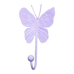 """Jubilee Collection - 4"""" Butterfly Hook - Lavender - Material: metal. 4 x 7 in."""