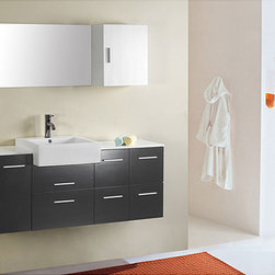 Virtuu - Virtu USA Hazel 56-inch Single Sink Bathroom Vanity Set - Bathroom vanity crafted with a modern design, offering contemporary style to any setting Single sink vanity comes complete with elegant wall mirrors High-quality M-110 constructed of solid oak