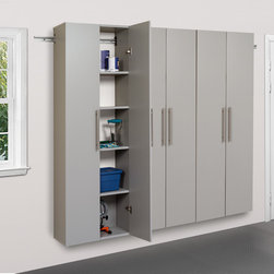 Prepac - 3-piece Stone Grey Storage Cabinet Set C - Easily organize your home,office or work shop with this wall mountable set while preventing damage from water and dirt. Made from industrial grade composite wood and featuring metal handles and adjustable hinges,you'll love this storage solution.