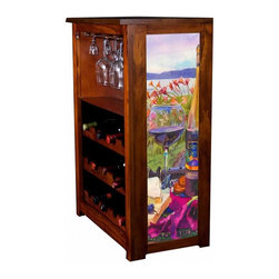 Kelseys Collection - Wine Cabinet 15 bottle Syrah by Kim Drew - Wine Cabinet stores fifteen wine bottles and glassware with licensed artwork by Kim Drew giclee-printed on canvas side panels  The frame, top, and racks are solid New Zealand radiata pine with a hand stained and hand rubbed medium reddish brown finish, which is then protected with a lacquer coat and top coat. The art is giclee printed on canvas with three coats of UV inhibitor to protect against sunlight, extending the life of the art. The canvas is then glued onto panels and inserted into the frames.