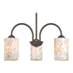 Design Classics Lighting - Chandelier with Mosaic Glass in Bronze Finish - 592-220 GL1026C - Mosaic glass neuvelle bronze 3-light chandelier with cylinder glass shades. Takes (3) 100-watt incandescent A19 bulb(s). Bulb(s) sold separately. UL listed. Dry location rated.