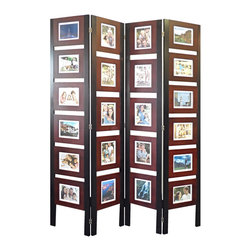 Proman Products - Proman Products Oscar Picture Folding Screen in Dark Mahogany - Picture Folding Screen in Dark Mahogany belongs to Oscar Collection by Proman Products Oscar Picture Folding Screen, fit 22 4x6 pictures. Maple veneer frame in dark mahogany color. Ideal for display and room divider. This folding screen display on single side only Folding Screen (1)
