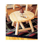 "Rustic Cedar - Coffee Table w Decorative Wood Skirt, Cedar Wood - The ruggedly handsome Cedar Wood Coffee Table with Decorative Wood Skirt features a 27 inch diameter slatted wood top and rust-resistant coated hardware.  This stylish, 18 inch high indoor/outdoor table is built to last from durable, decay-resistant White Cedar wood.  This Round Coffee Table in Light Cedar was designed to withstand the everyday rigors of outdoor use.  Rust-resistant coated hardware and naturally decay resistant Light Cedar wood ensure your table will provide season after season of outdoor enjoyment! * The ruggedly handsome Cedar Wood Coffee Table with Decorative Wood Skirt features a 27 inch diameter slatted wood top and rust-resistant coated hardware.. This stylish, 18 inch high indoor/outdoor table is built to last from durable, decay-resistant White Cedar wood.. . 27"" x 18"". Weight: 25lbs."