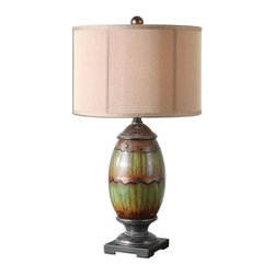 Dripped Green Glaze Volturino Table Lamp- Volturino - *Ceramic base finished in a dripped green glaze with orange rust undertones, aged black accents and crackled oil rubbed bronze details.