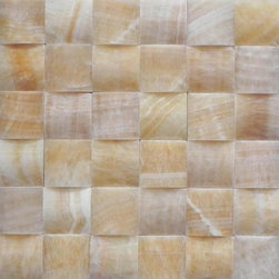 """Marbleville - Honey Onyx Pillow Edge Polished Finish Mesh-Mounted Mosaic in 12"""" x 12"""" Sheet, Y - Premium Grade Honey Onyx 2"""" x 2"""" Pillow Edge Pattern Polished Finish Mesh-Mounted Onyx Mosaic is a splendid Tile to add to your decor. Its aesthetically pleasing look can add great value to any ambience. This Mosaic Tile is made from selected natural stone material. The tile is manufactured to high standard, each tile is hand selected to ensure quality. It is perfect for any interior projects such as kitchen backsplash, bathroom flooring, shower surround, dining room, entryway, corridor, balcony, spa, pool, etc."""