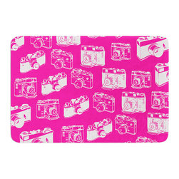 """KESS InHouse - KESS Original """"Camera Pattern"""" Magenta Memory Foam Bath Mat (24"""" x 36"""") - These super absorbent bath mats will add comfort and style to your bathroom. These memory foam mats will feel like you are in a spa every time you step out of the shower. Available in two sizes, 17"""" x 24"""" and 24"""" x 36"""", with a .5"""" thickness and non skid backing, these will fit every style of bathroom. Add comfort like never before in front of your vanity, sink, bathtub, shower or even laundry room. Machine wash cold, gentle cycle, tumble dry low or lay flat to dry. Printed on single side."""