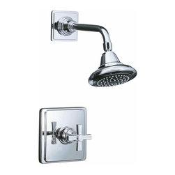 KOHLER - KOHLER K-T13134-3B-CP Pinstripe Rite-Temp Pressure-Balancing Shower Faucet Trim - KOHLER K-T13134-3B-CP Pinstripe Rite-Temp Pressure-Balancing Shower Faucet Trim with Cross Handle in Polished Chrome