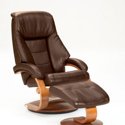 """MAC MOTION CHAIRS - Oslo Collection Espresso Brown Top Grain Leather Swivel Recliner w/ Ottoman - Norwegian styling never had it so good, with this unique 2 pc matching chair and ottoman, from the """"Oslo Collection"""". Nested within the strong selective hardwood frame with a rich """"Walnut"""" wood frame finish, to match its accented ottoman, this is the winner! Offering a pillow top back rest along each side of the back cushion, along with an angled headrest and """"MX-2"""" memory foam throughout, makes for a therapy comfort, support and styling. All within a standard seating are this models overall width of only 30"""", and fits very comfortably within most home areas. Features include 360 degree swivel, multiple adjustment for personalized reclining positions and matching angled ottoman. Both pieces are covered in """"Top-Grain"""" leather, everywhere you touch. This """"Espresso"""" leather color is complimented by the deep """"Walnut"""" wood frame finish, of the quality euro style frame"""