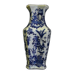 Golden Lotus - Chinese Blue White Porcelain Rhomboid Flower Vase Vase - This is a traditional Chinese decoration vase in blue & white color with detail combination of oriental flower and vase pattern  ( some blurry on the graphic )