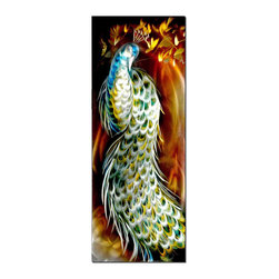 Pure Art - Glorious Peacock Metal Wall Art - The incredible beauty of the peacock is captured in this exquisite artwork. See the layers of feathers, the bold plumage, and the curvature of its magnificent tale and it looks on with a flirtatious stance underneath branches dotted with yellow blooms. This piece is highly detailed in its presentation and shows the dramatic train of its eye-spotted tail.Made with top grade aluminum material and handcrafted with the use of special colors, it is a very appealing piece that sticks out with its genuine glow. Easy to hang and clean.
