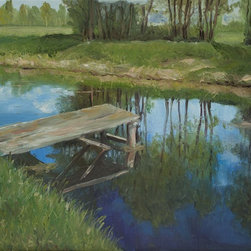 Wooden bridge on the small river Artwork - Wooden bridge on the small river