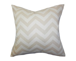 "The Pillow Collection - Xayabury Zigzag Pillow Khaki - Create a soft and welcoming vibe to your interiors with this gorgeous accent pillow. This square pillow offers a zigzag design in khaki and white. It easily coordinates with other home accessories with its neutral tone. Toss this 18"" pillow in your living room, bedroom or kitchen for a fabulous look. Crafted from 100% soft and high-quality cotton material. Hidden zipper closure for easy cover removal.  Knife edge finish on all four sides.  Reversible pillow with the same fabric on the back side.  Spot cleaning suggested."