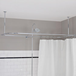 Side-Mount Shower Curtain Rod - Easily convert your dual ended tub into a shower with this side-mount shower enclosure rod, which features two adjustable ceiling supports.