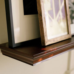Crown Molding Shelf, Espresso Stain - One wall of my home office will have three long shelves for storing supplies and displaying photos and trinkets. I love the architectural detail of these, and the warm wood will add a lot to the space.