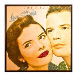 """Glittered J Geils Band Love Stinks Album - Glittered record album. Album is framed in a black 12x12"""" square frame with front and back cover and clips holding the record in place on the back. Album covers are original vintage covers."""