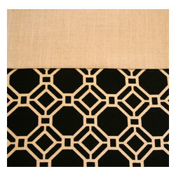 Grey House Linens - The Meghan Collection Tablecloth, Extra Large - Crisp, clean and sophisticated, this interlocking black and neutral tile pattern printed on 100% cotton, borders a fine textured wheat ground. It's a neutral palette and a timeless design, which will show off your tableware to the fullest.