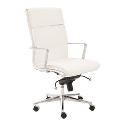 Euro Style - Leif High Back Office Chair in White - Leatherette over foam seat and back. BIFMA approved chromed aluminum base and armrests. Tilt, swivel and gas lift. PU casters with stainless steel hood. Seat height: 18.5 - 21.3 in.. Durable, easy to clean leatherette. Tilt mechanism locks in multiple positions. PU casters do not scratch hardwood floors. Color/Finish: White Leatherette/Chrome. 23.5 in. L x 24.5 in. W x 42 in. H