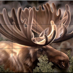The Tile Mural Store (USA) - Tile Mural - Moose Portrait - Kitchen Backsplash Ideas - This beautiful artwork by Laura Regan has been digitally reproduced for tiles and depicts a close-up of a moose.  Our elk tile murals and our tiles with deer are perfect as part of your kitchen backsplash or your tub and shower surround bathroom tile project. Elk images on tiles and images of deer on tiles add a unique element to your bathroom tiling project as well. Consider a tile mural of a woodland scene for any wall tile project.