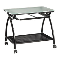 Office Star - Office Star Newport Newport Mobile File in Black - Office Star - Filing Cabinets - NWP30BK - Store you documents with the OSP Designs Newport Mobile File. Featuring frosted tempered glass top black powder coated steel frame and pull out handles.