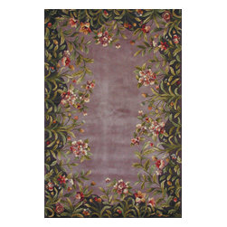Emerald 9006 Lavender Garden Rug - Our Emerald Collection is a rich and vibrant line of high density hand-tufted wool rugs. Made in China in a 90-Line quality, this collection offers intricate designs in a medley of lush colors. The designs range from classic French and Orient aubussons to florals. These rugs are beautifully versatile in design and color and complement a broad range of d̩corating tastes. No fringe.