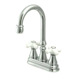 """Kingston Brass - Polished Chrome Two Handle 4"""" Centerset Bar Faucet without Pop-Up Rod KS2491PX - The double-handle centerset bar faucet is an ideal choice for those seeking traditional elegance in the kitchen. The chic triangular escutcheons and well-crafted design on the spouts and the handles adds a fancy look to the product. Fabricated from solid brass, this faucet is durable and is made from a polished chrome finish for scratch and tarnishing resistance.. Manufacturer: Kingston Brass. Model: KS2491PX. UPC: 663370118425. Product Name: Two Handle 4"""" Centerset Bar Faucet without Pop-Up Rod. Collection / Series: Governor. Finish: Polished Chrome. Theme: Classic. Material: Brass. Type: Faucet. Features: Polished chrome finish impresses with its silvery shine"""