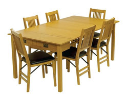 Stakmore - Mission-Style Expanding Dining Table, Warm Finish - Chairs sold separately. Can be used as console and game table. Two additional leaves expands to dining table. Hidden fifth leg for extra support in the open dining position. Made from premium solid wood. Dining table: 72 in. L x 40 in. W x 29 in. H. Console table: 40 in. W x 20 in. D x 29 in. H. Gaming/Dinette table: 40 in. L x 40 in. W x 29 in. HPracticality meets functionality with this expanding table. In its starting position this table is a mission style console or sofa table, by pulling out the back legs and flipping the hinged top it easily becomes a 40 by 49 inch game/dinette table. If more seating area is needed, simply extend the table further and add two leaves (included) and you get a 72 inch long dining table easily seating six people. With a warm fruitwood finish and clean line this piece of furniture will be the most versatile piece in your home.