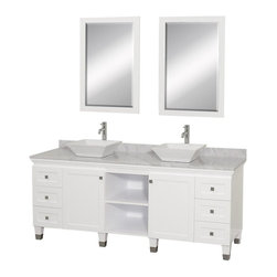 Wyndham Collection - Eco-Friendly Bathroom Vanity with White Carrera Marble Top - Includes natural stone counter, backsplash, two vessel sinks and matching mirror. Faucets not included. Engineered to prevent warping and last a lifetime. Highly water-resistant low V.O.C. finish. 12 stage wood preparation, sanding, painting and finishing process. Floor standing vanity. Deep doweled drawers. Fully extending bottom mount drawer slides. Soft close concealed door hinges. Single hole faucet mount. Plenty of storage space. Brushed steel leg accents. Metal hardware with brushed chrome finish. Two doors and six drawers. White porcelain sinks. Made from zero emissions solid oak hardwood. White finish. Vanity: 72 in. W x 22.5 in. D x 36 in. H. Mirror: 24.25 in. W x 36.25 in. H. Handling InstructionsCutting edge, unique transitional styling. A bridge between traditional and modern design, and part of the Wyndham Collection Designer Series by Christopher Grubb, the Premiere Single Vanity is at home in almost every bathroom decor, resulting in a timeless piece of bathroom furniture.