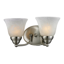 Z-Lite - Z-Lite Athena Bathroom Light X-V2-0112 - Brushed Nickel finish and white swirl shades bring a stylish flare to this double light vanity lamp making it a must-have for any modern room.