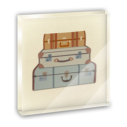 """Made on Terra - Vintage Luggage Suitcase Travel Mini Desk Plaque and Paperweight - You glance over at your miniature acrylic plaque and your spirits are instantly lifted. It's just too cute! From it's petite size to the unique design, it's the perfect punctuation for your shelf or desk, depending on where you want to place it at that moment. At this moment, it's standing up on its own, but you know it also looks great flat on a desk as a paper weight. Choose from Made on Terra's many wonderful acrylic decorations. Measures approximately 4"""" width x 4"""" in length x 1/2"""" in depth. Made of acrylic. Artwork is printed on the back for a cool effect. Self-standing."""