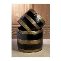 """Dessau Home - 2 Pc Planters Set in Antique Brass and Black - Includes small and large. Made from brass. Made in India. Small: 14 in. Dia. x 12 in. H. Large: 16 in. Dia. x 14 in. HValue has always been an essential ingredient at Dessau Home. """"Essentials"""" represents a collection of well-appointed yet affordable home furnishings with a unique traditional styling that appeals to most transitional and contemporary home decorating needs."""