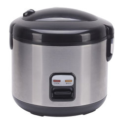 SPT Appliance - 6-cups Rice Cooker with Stainless Body - Stainless steel body. Easy one-button operation. Automatic keep warm system. Cool touch exterior. Pressure-sealed inner locking lid. 3-Dimensional heating from top, sides and bottom . Cook and Keep Warm indicator lights. Removable non-stick inner pot. Added cooking versatility with supplied steam tray. Condensation collection cup traps excess steam droplets . Safety lock button. Accessories included: steam tray, measuring cup and spatula. ETL certified. Included in Box: Steam tray, measuring cup and spatula. No assembly required. 9.76 in. L X 9.05 in. W X 9.64 in. H (4.85 lbs.)Cook various dishes with this rice cooker. You can steam rice, porridge, soup, stew and much more. Features one-touch operation and convenient carrying handle. Automatically switches to WARM mode.
