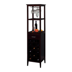 Winsomewood - Wine Tower - This classic wine tower stores eighteen bottles of wine in individual drawers, and there is one drawer for accessories storage. There is a hanging rack which holds wine glasses, and two shelves for holding open bottles, full glasses, and plates.