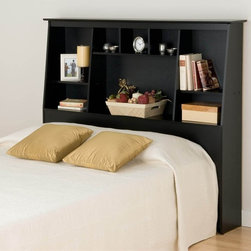 Prepac - Tall Slant-Back Bookcase Headboard - Suitable for full and queen-sized beds. Eight storage compartments. Warranty: Five years. Made from CARB-compliant, laminated composite woods and sturdy MDF backer. Made in North America. Minimal assembly required. Center compartment: 29.75 in. W x 10.25 in. D x 16.75 in. H. Upper side compartment: 15.5 in. W x 10.25 in. D x 7.5 in. H. Lower side compartment: 15.5 in. W x 10.25 in. D x 16.25 in. H. Center top: 9.5 in. W x 6.5 in. D x 7 in. H. Overall: 65.75 in. W x 10.25 in. D x 55.75 in. HGet big storage in any bedroom with the Full/Queen Tall Slant-Back Bookcase Headboard. Boasting a unique design that will complement your existing decor, this headboard offers maximum storage space while taking up minimum floor space. Fill the eight storage compartments with bedside books, knick-knacks and whatever else you can fit in their various sizes.