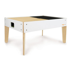 P'kolino - P'kolino Little Modern Activity Table - This imaginative activity table is the perfect modern space for little ones to play! Reversible table top: chalkboard on one side and beautiful natural wood on the other. And there is bundant under-the-table storage.
