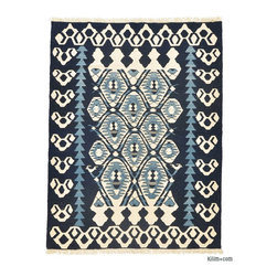 New Turkish Kilim Rug - New Turkish Kilim Area Rug hand-woven in Turkey with vegetable-dyed and hand-spun wool. The fringes can be removed upon request.