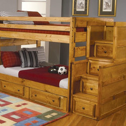Wrangle Hill Full Over Full Bunk Bed by Coaster 460096 - Made of solid pine in amber wash finish, the Wrangle Hill full over full bunk bed will make a great addition to your home.
