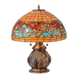 "Meyda - 19.5""H Black Eyed Susan Table Lamp - A beautiful reproduction of tiffany studios' famousdesign, this lamp features a cluster of rosy red anddark blue colored black eyed susan flowers, amongblue/green leaves that grace this sunset tiled artglass shade. The unique art glass shade, which iscreated with meyda's famous copperfoil constructionprocess, is paired with an antique copper finished lampbase featuring a cabbage leaf design. Bulb type: med bulb quantity: 2 bulb wattage: 60"