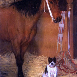 """Edgar Degas At the Stables, Horse and Dog - 16"""" x 20"""" Premium Archival Print - 16"""" x 20"""" Edgar Degas At the Stables, Horse and Dog premium archival print reproduced to meet museum quality standards. Our museum quality archival prints are produced using high-precision print technology for a more accurate reproduction printed on high quality, heavyweight matte presentation paper with fade-resistant, archival inks. Our progressive business model allows us to offer works of art to you at the best wholesale pricing, significantly less than art gallery prices, affordable to all. This line of artwork is produced with extra white border space (if you choose to have it framed, for your framer to work with to frame properly or utilize a larger mat and/or frame).  We present a comprehensive collection of exceptional art reproductions byEdgar Degas."""
