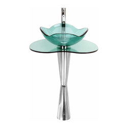 Renovators Supply - Pedestal Sinks Light Green Glass/Stainless Pedestal Sink - Glass Sinks: Our Apple Blossom Glass Pedestal Sink features an elegant glass bowl, glass vanity shelf & stainless steel pedestal. Glass sinks are the ultimate fixtures for your bath or washroom. Easy to clean and gives any bathroom a fresh & clean feel. Comes complete with faucet, p-trap, drain ring and pop-up drain.